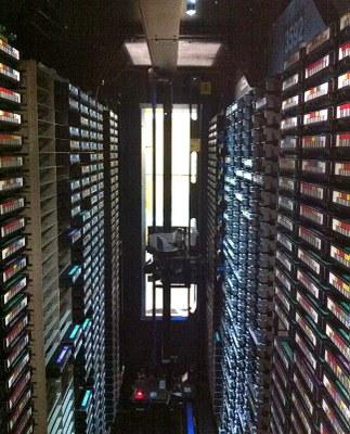 Vue de l'intérieur de la Tape Library IBM TS3500 Enterprise